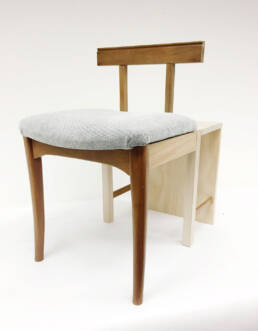 Goldi Chair (2019) Wood offcuts from an old chair, Pine wood, Tasmanian oak, dowels, biscuits, Carnauba wax finish