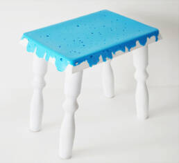 Mik-Mik Milking Stool (2018) High Density Polyethylene (HDPE) plastic milk bottle caps, wood offcuts